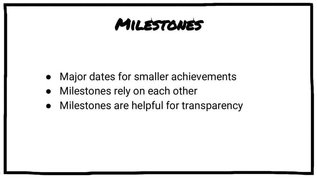 Milestones ● Major dates for smaller achievemen...