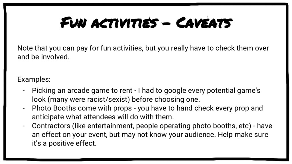 Fun activities - Caveats Note that you can pay ...