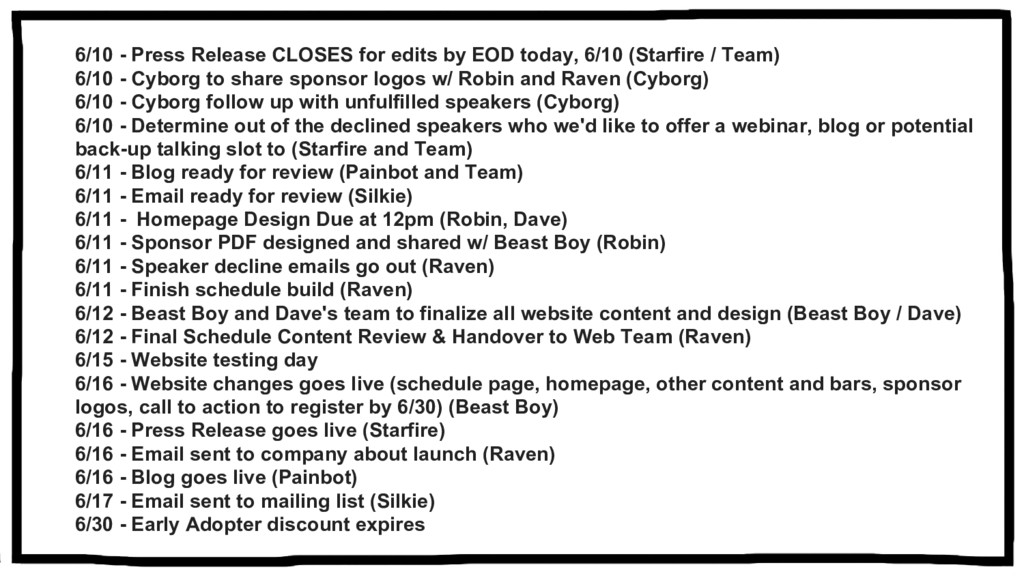 6/10 - Press Release CLOSES for edits by EOD to...