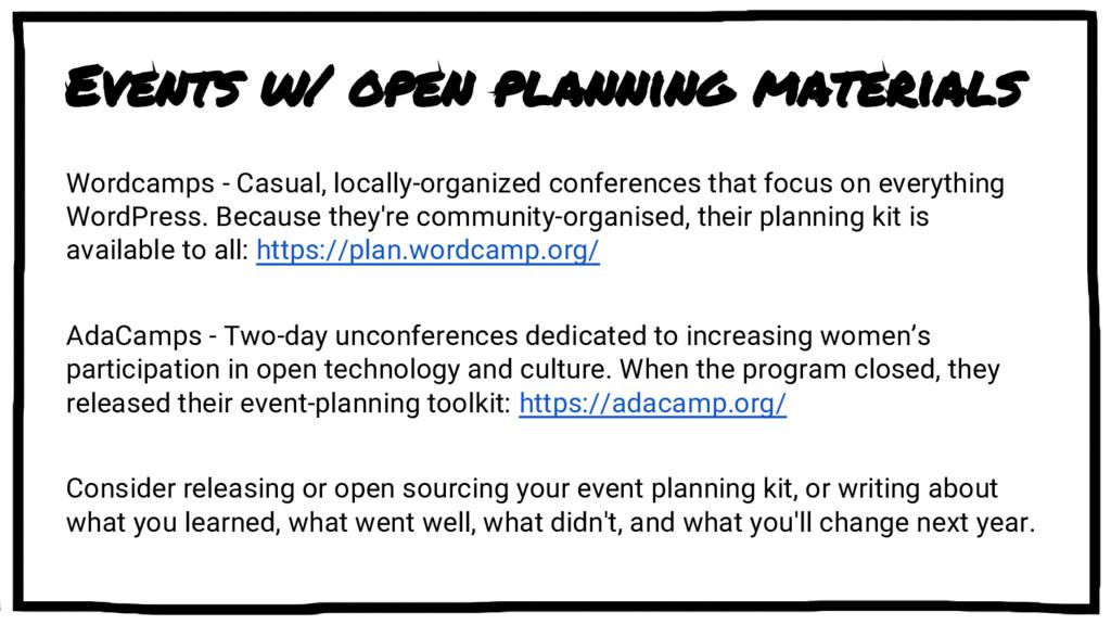 Events w/ open planning materials Wordcamps - C...