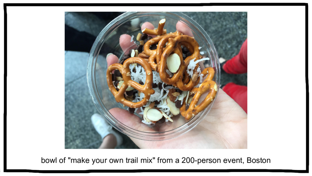 """bowl of """"make your own trail mix"""" from a 200-pe..."""
