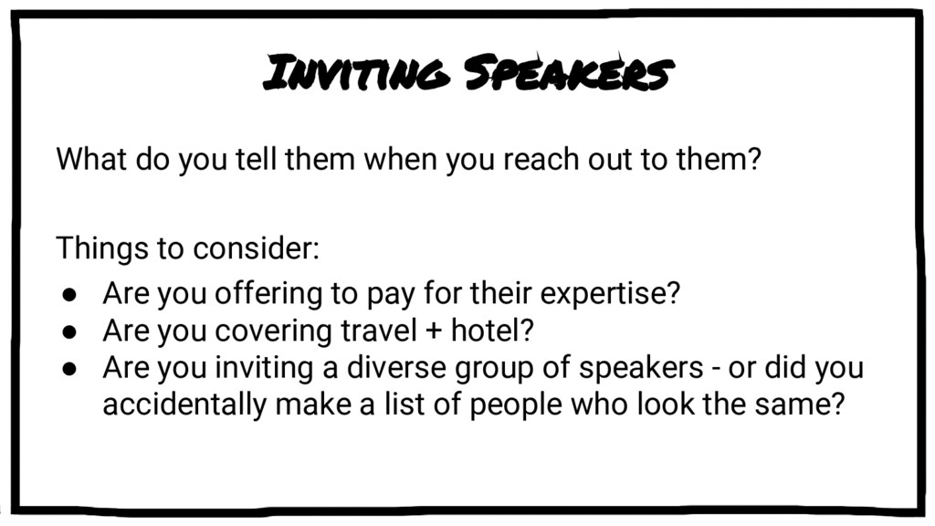 Inviting Speakers What do you tell them when yo...