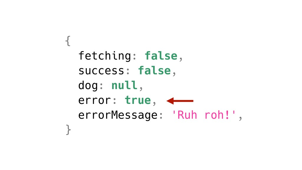 { fetching: false, success: false, dog: null, e...