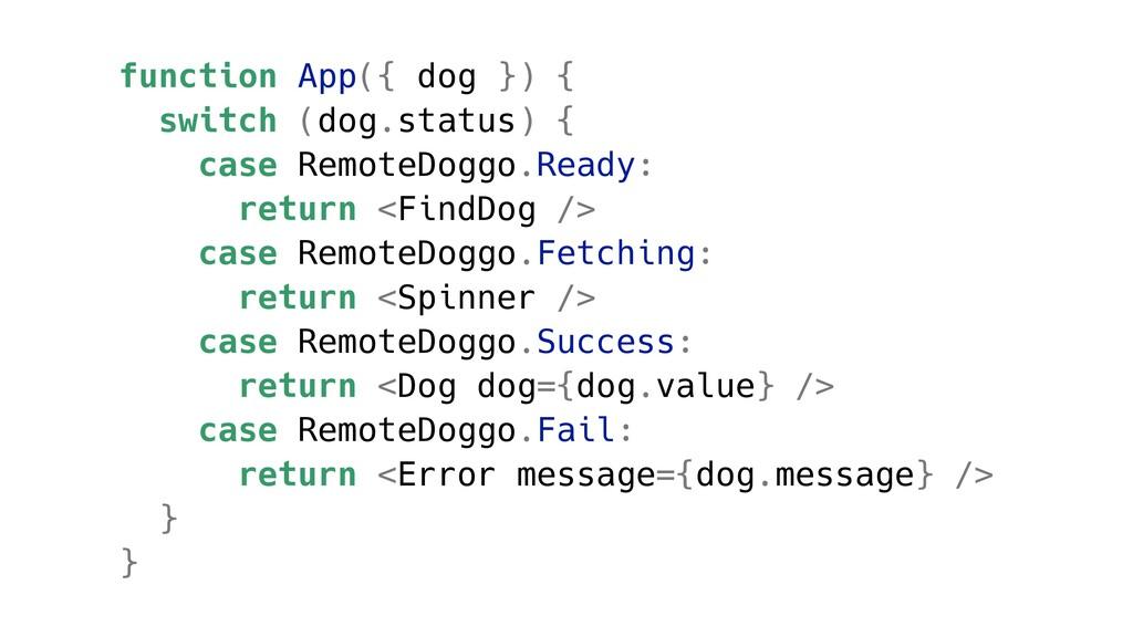function App({ dog }) { switch (dog.status) { c...