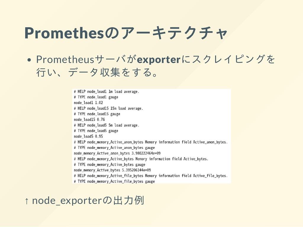 Promethesのアーキテクチャ Prometheusサーバがexporterにスクレイピン...