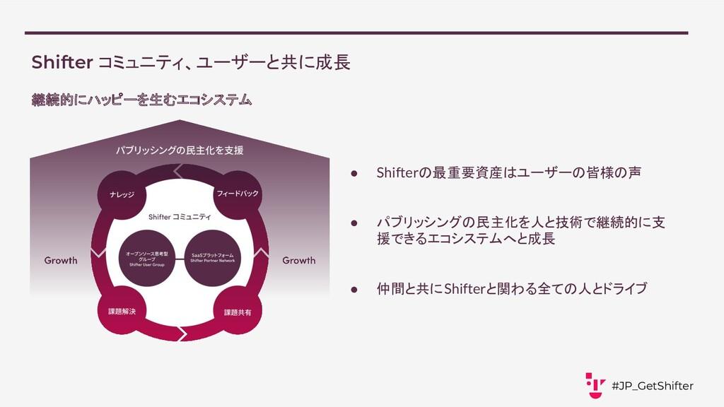 Shifter コミュニティ、ユーザーと共に成長 ● Shifterの最重要資産はユーザーの皆...