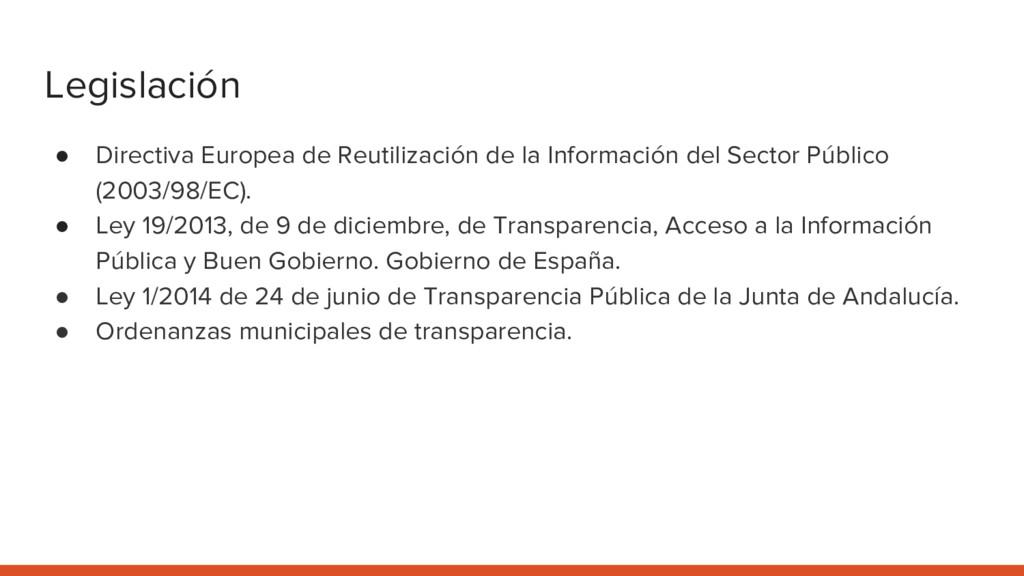 Legislación ● Directiva Europea de Reutilizació...