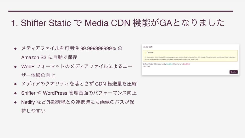1. Shifter Static Ͱ Media CDN ػ͕GAͱͳΓ·ͨ͠ ● ϝσΟ...