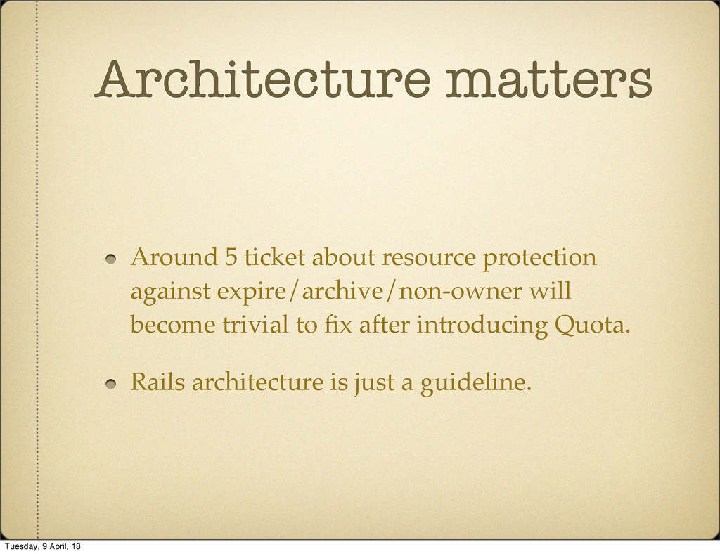 Architecture matters Around 5 ticket about reso...
