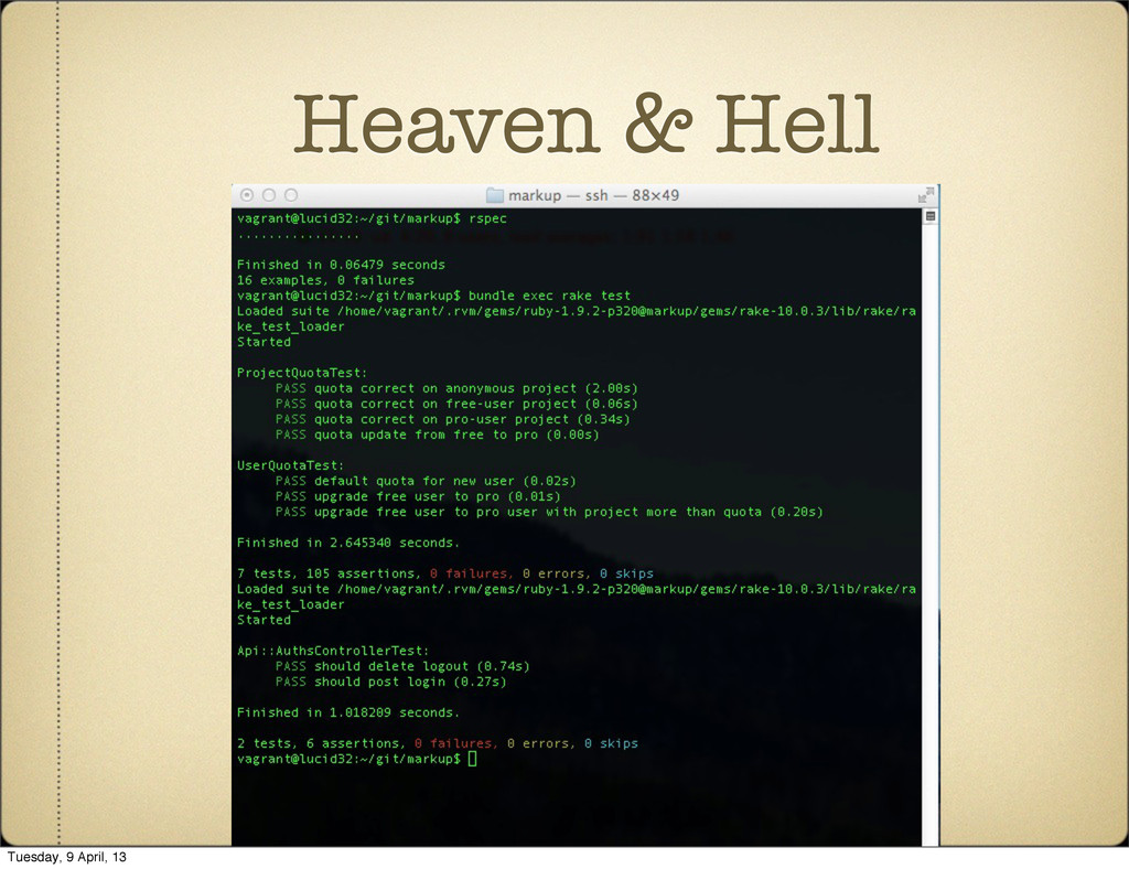 Heaven & Hell Tuesday, 9 April, 13