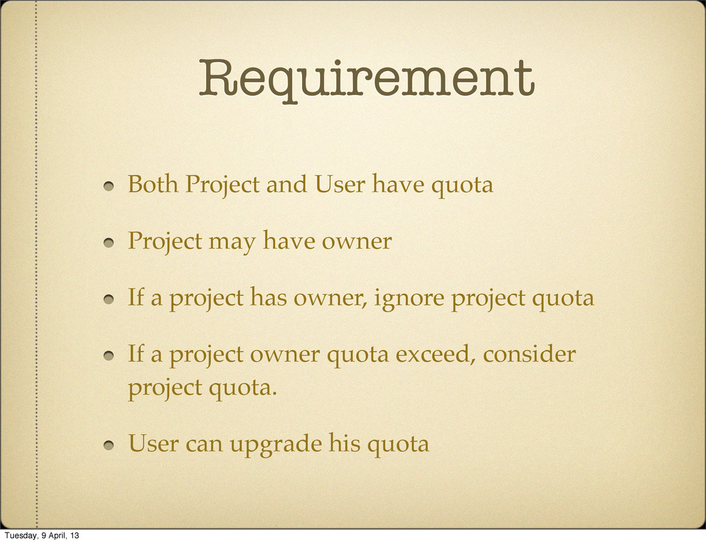 Requirement Both Project and User have quota Pr...