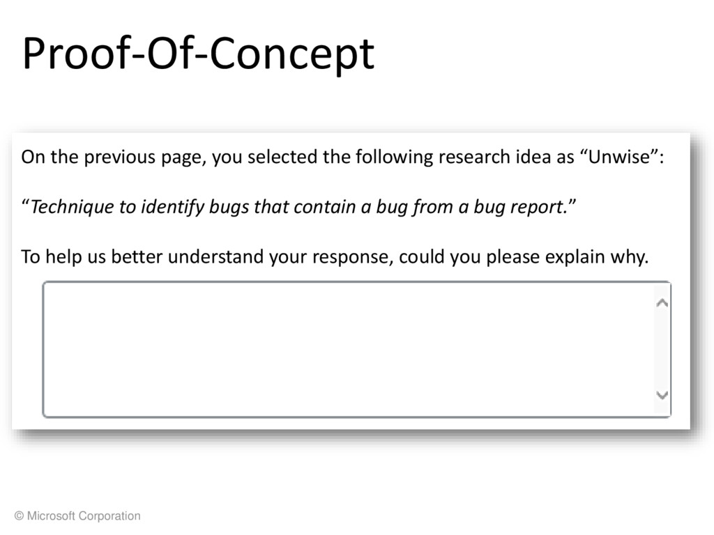 © Microsoft Corporation Proof-Of-Concept On the...