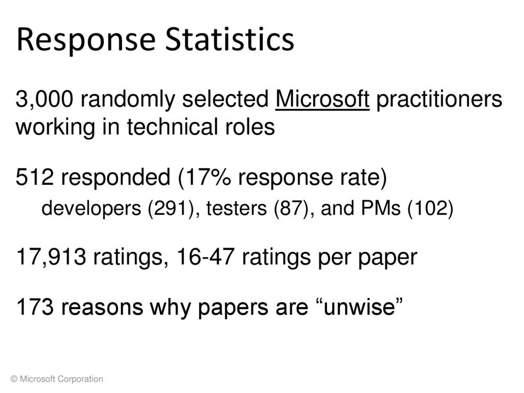 © Microsoft Corporation Response Statistics 3,0...