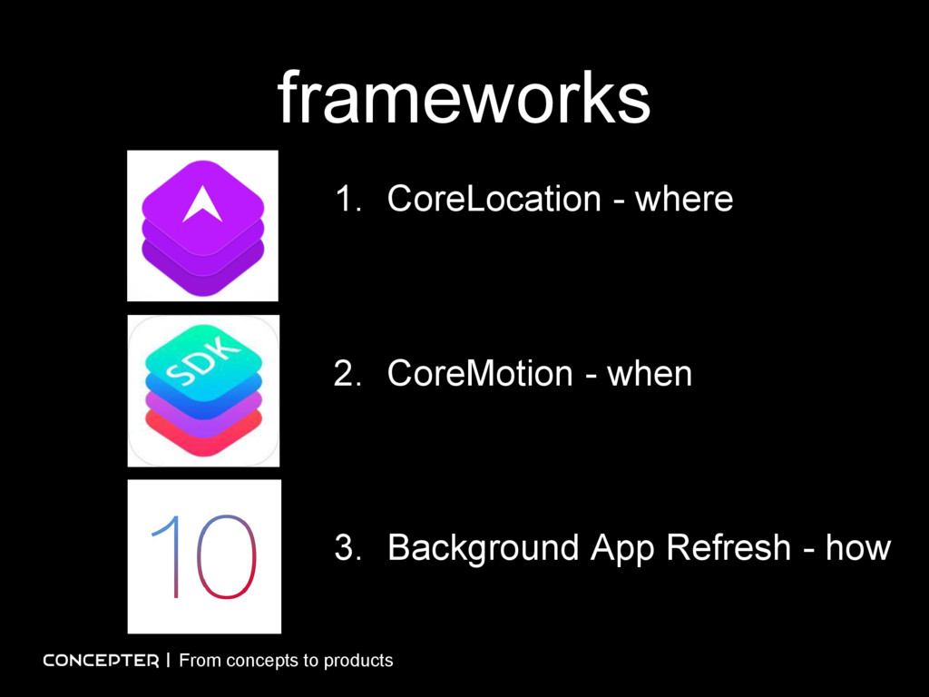 frameworks From concepts to products 1. CoreLoc...