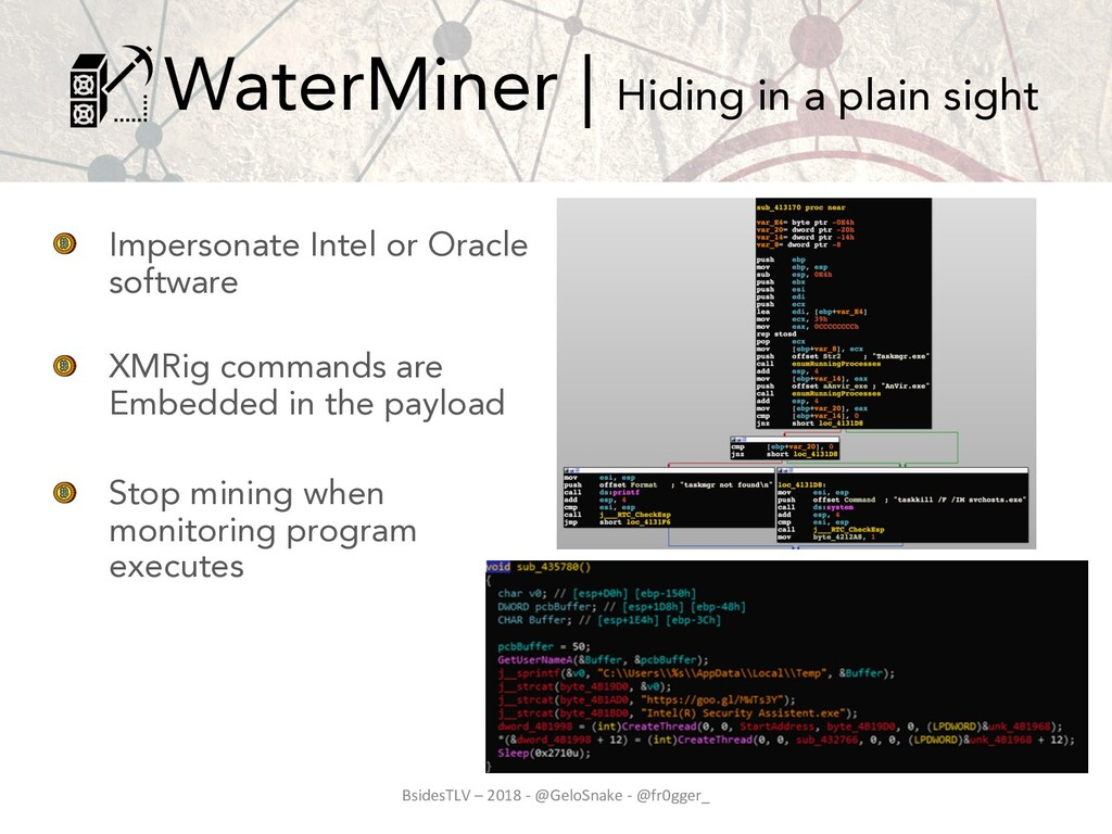 Impersonate Intel or Oracle software XMRig comm...