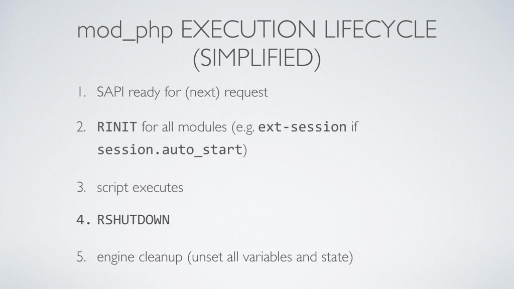 mod_php EXECUTION LIFECYCLE (SIMPLIFIED) 1. SA...