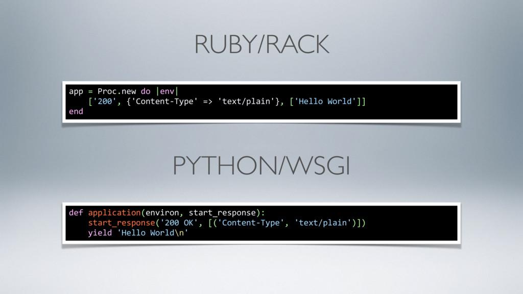 RUBY/RACK app = Proc.new do  env  ['200', {'Con...
