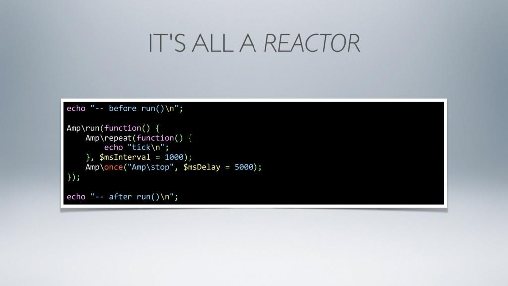 "IT'S ALL A REACTOR echo ""-- before run()\n""; Am..."