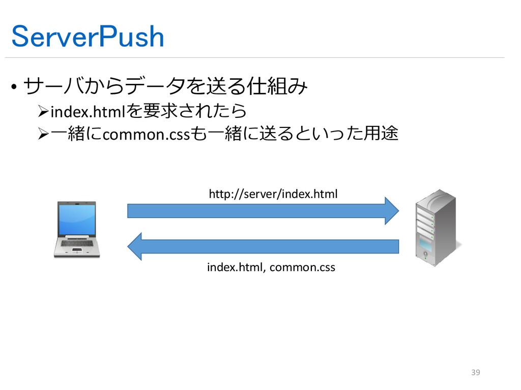 ServerPush • サーバからデータを送る仕組み index.htmlを要求されたら ...