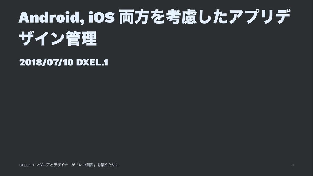 Android, iOS ྆ํΛߟྀͨ͠ΞϓϦσ βΠϯཧ 2018/07/10 DXEL....