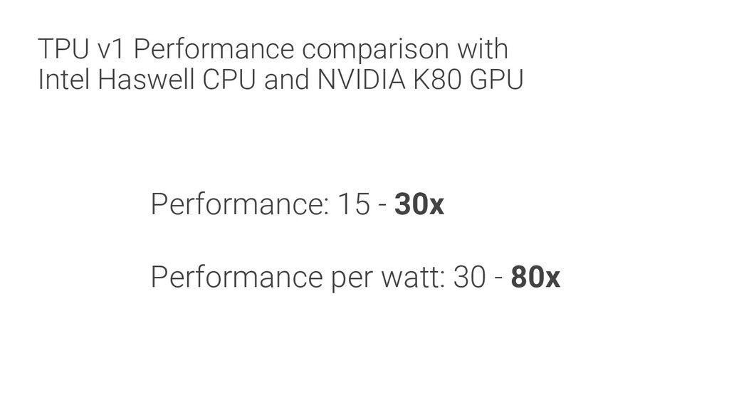 TPU v1 Performance comparison with Intel Haswel...