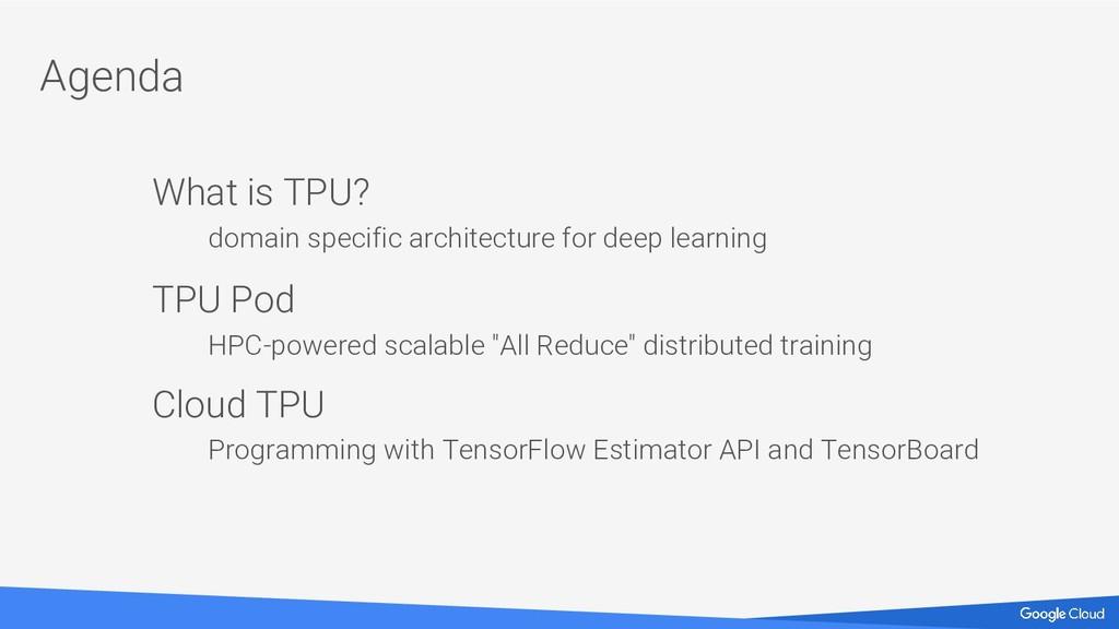 Agenda What is TPU? domain specific architectur...