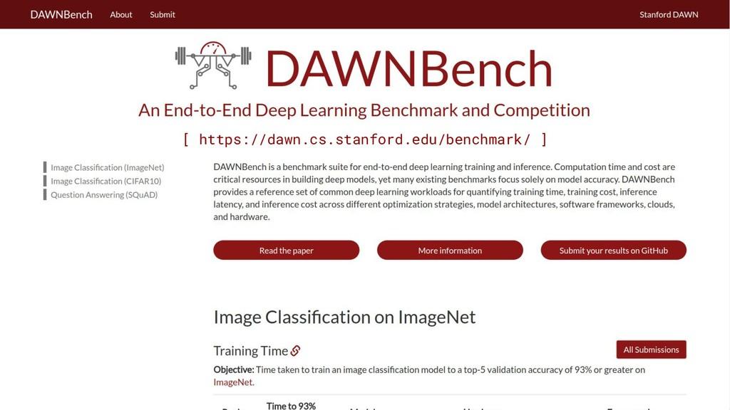 [ https://dawn.cs.stanford.edu/benchmark/ ]