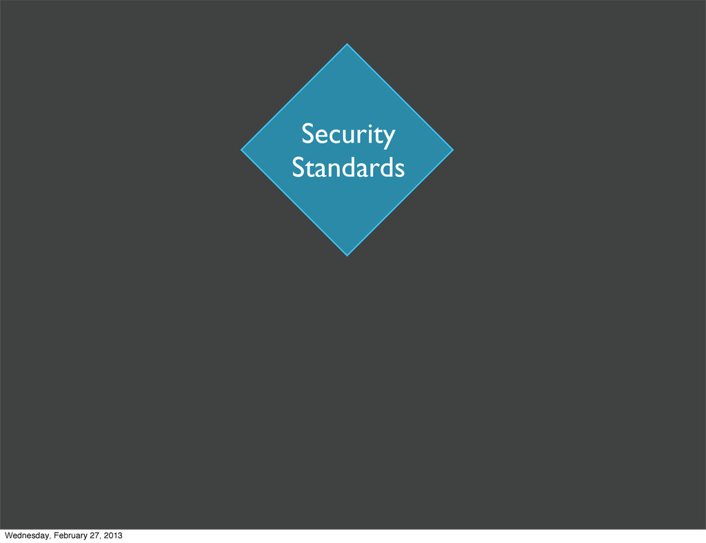 Security Standards Wednesday, February 27, 2013