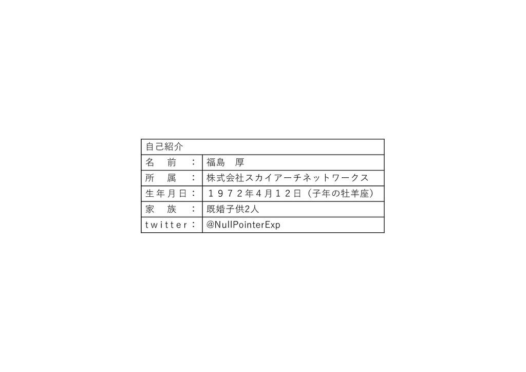 ⾃⼰紹介 名 前 : 福島 厚 所 属 : 株式会社スカイアーチネットワークス ⽣ 年 ⽉ ⽇...