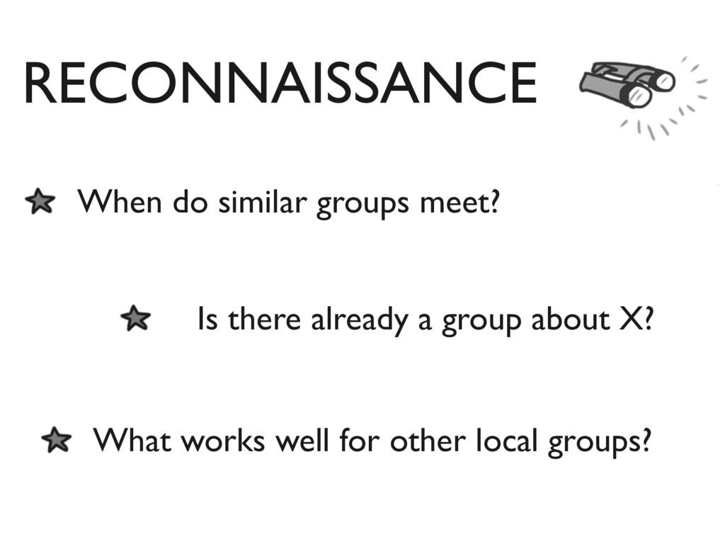 RECONNAISSANCE When do similar groups meet? Is ...