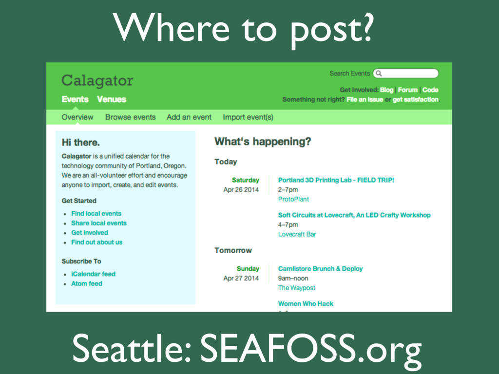 Where to post? Seattle: SEAFOSS.org