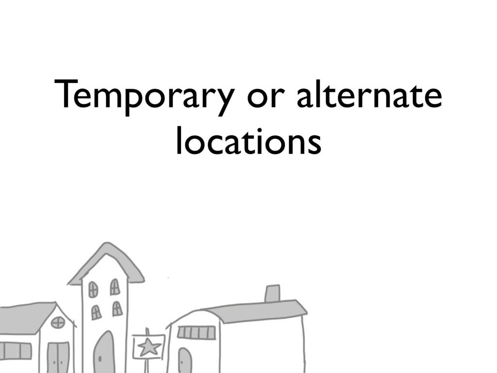 Temporary or alternate locations