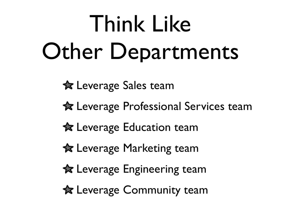 Think Like Other Departments Leverage Sales tea...