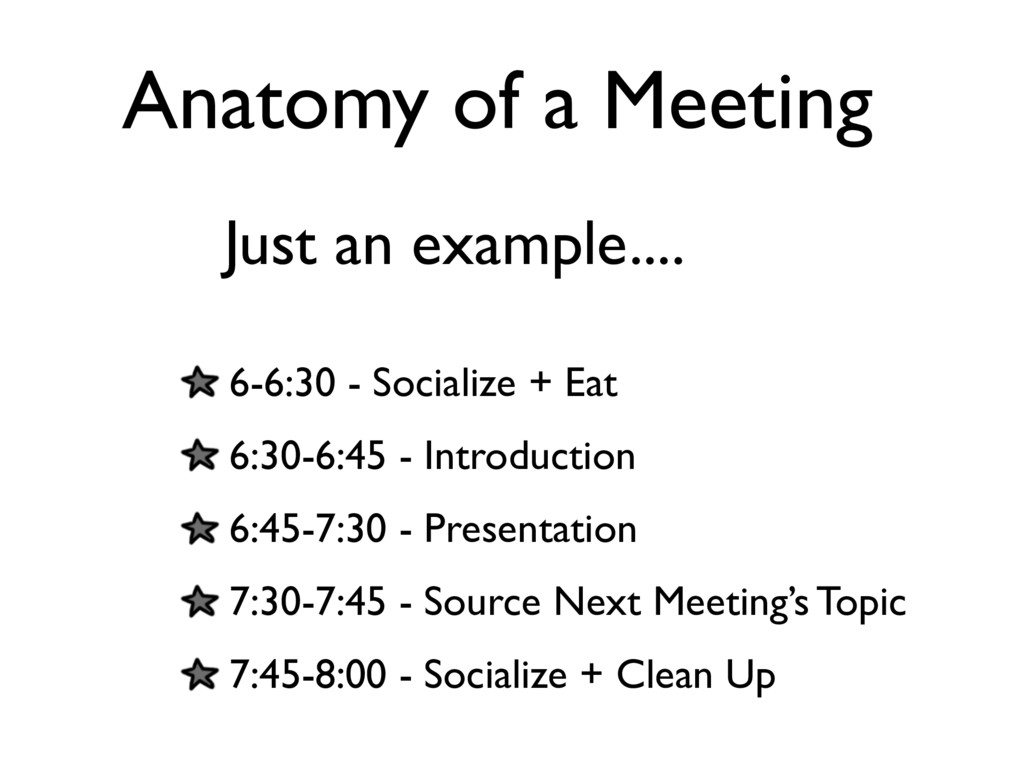 Anatomy of a Meeting 6-6:30 - Socialize + Eat 6...