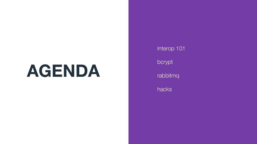 AGENDA Interop 101 bcrypt rabbitmq hacks