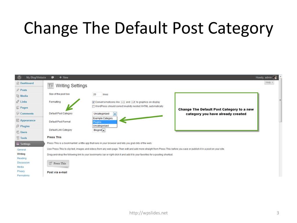 Change The Default Post Category http://wpslide...