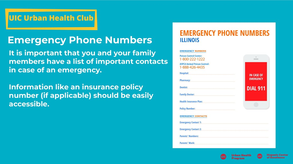 Emergency Phone Numbers UIC Urban Health Club I...
