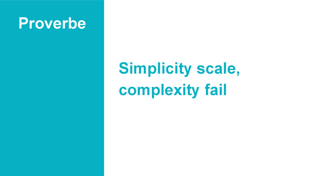Proverbe Simplicity scale, complexity fail