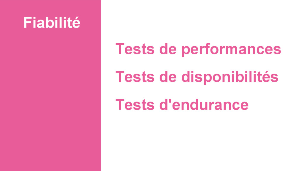 Fiabilité Tests de performances Tests de dispon...