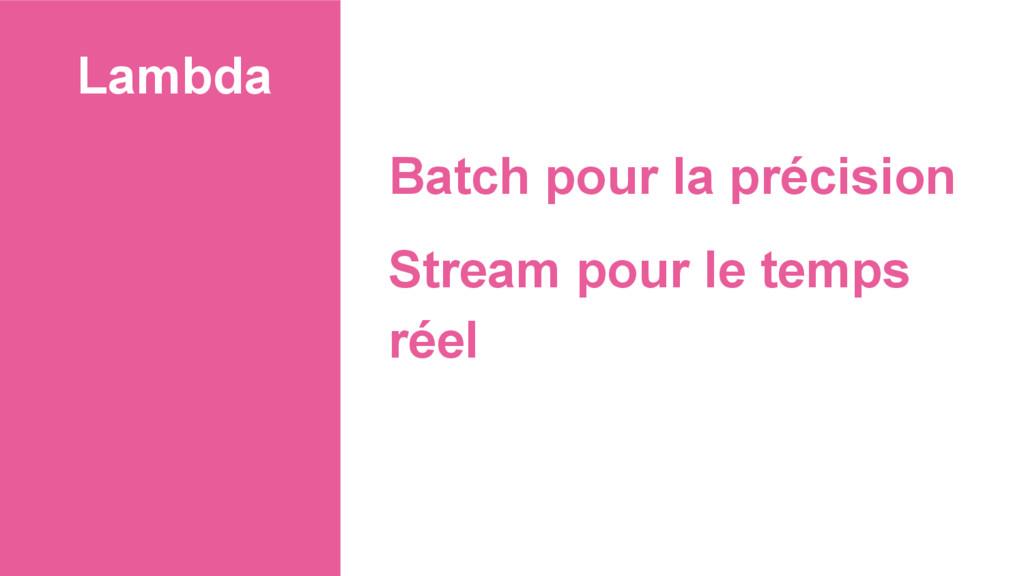 Lambda Batch pour la précision Stream pour le t...