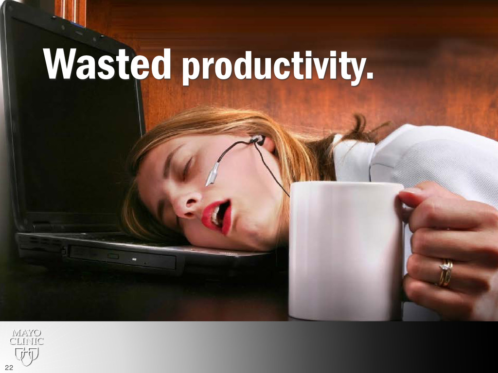Wasted productivity. 22