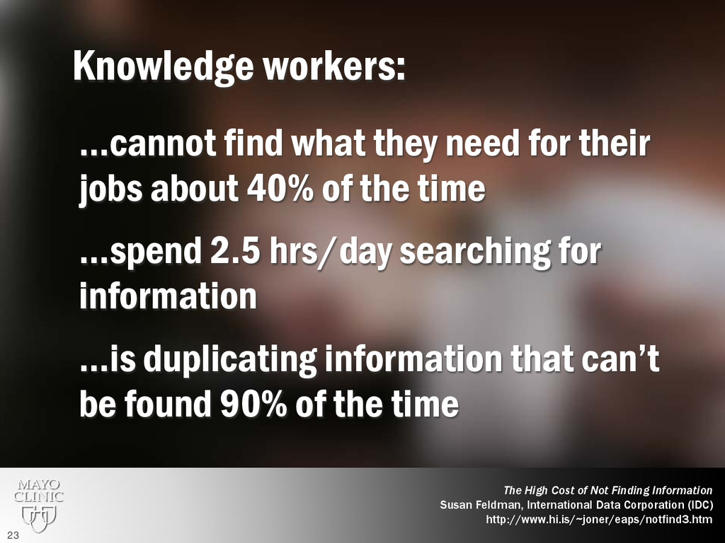Knowledge workers: …cannot find what they need ...