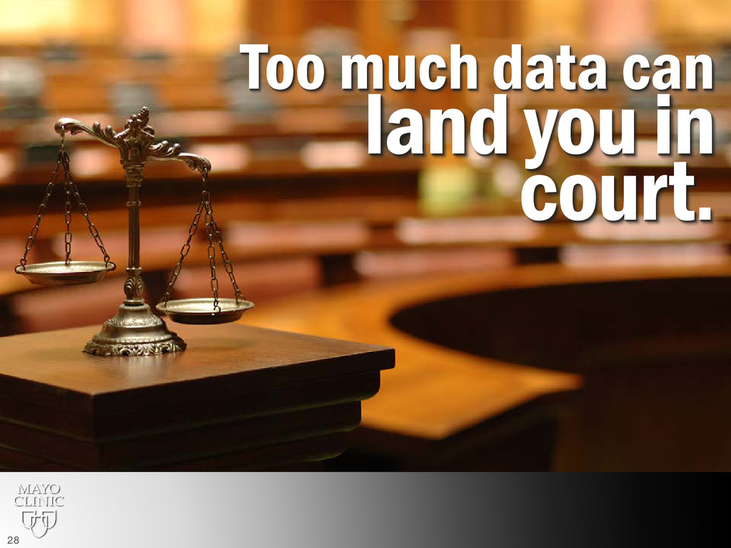 Too much data can land you in court. 28