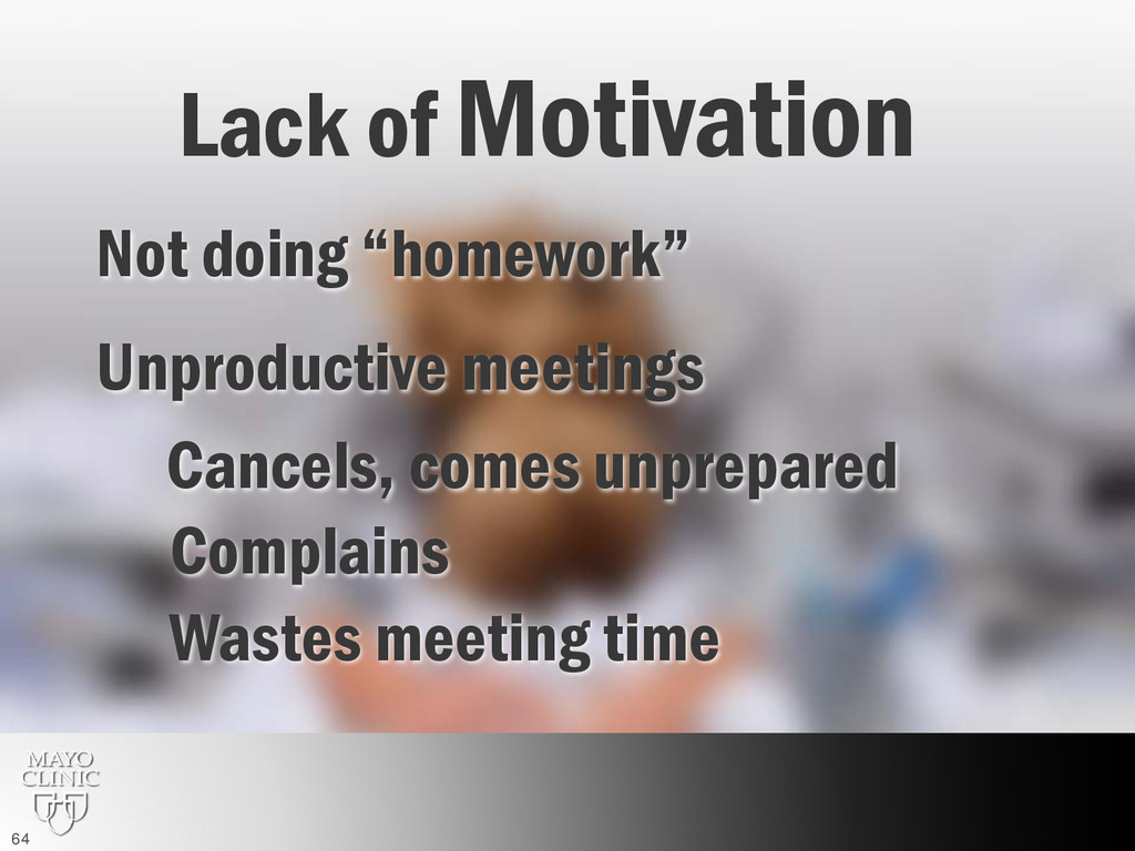 "Not doing ""homework"" Unproductive meetings Comp..."