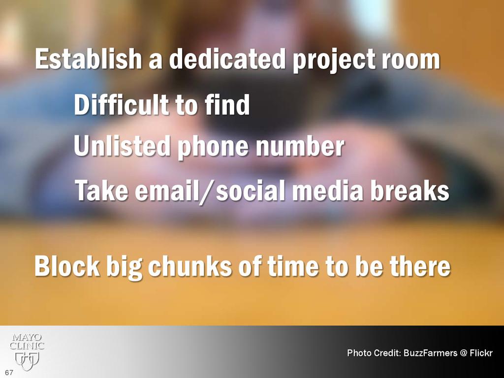 Establish a dedicated project room Photo Credit...