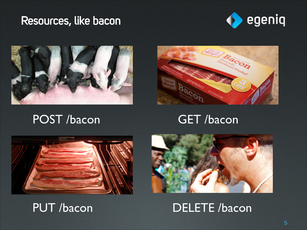 Resources, like bacon !5 POST /bacon GET /bacon...