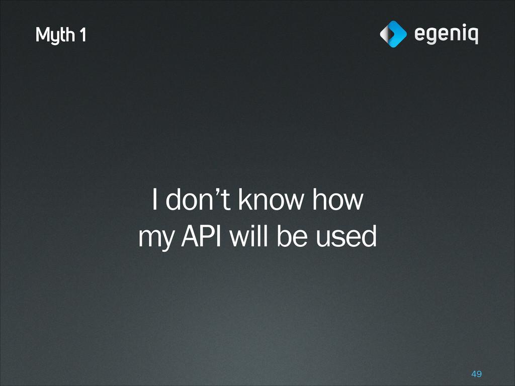 Myth 1 I don't know how my API will be used !49