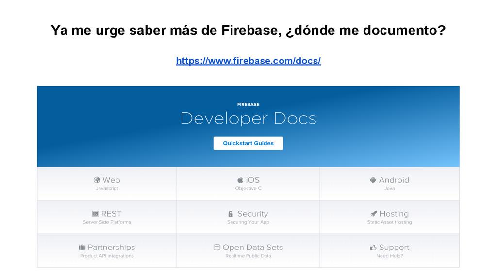 Ya me urge saber más de Firebase, ¿dónde me doc...