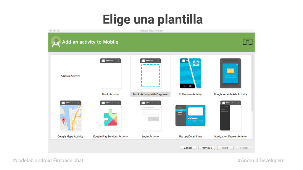 Elige una plantilla #Android Developers #codela...