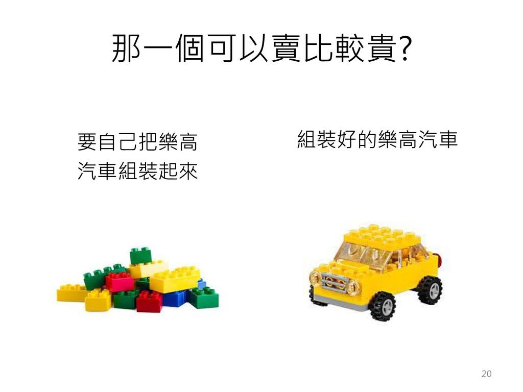 那一個可以賣比較貴? 要自己把樂高 汽車組裝起來 組裝好的樂高汽車 20